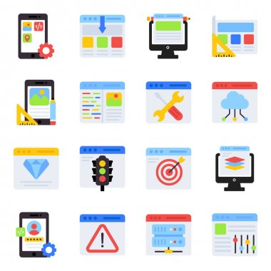Pack of Web Management Flat Icons icon