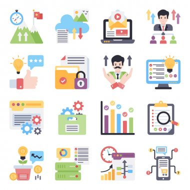 Pack of Corporate Flat Icons icon
