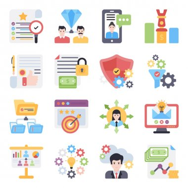 Pack of Business Flat Icons icon