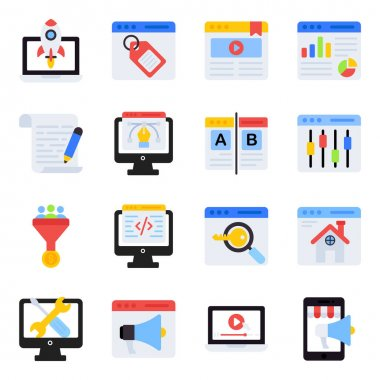 Pack of Online Marketing Flat Icons icon