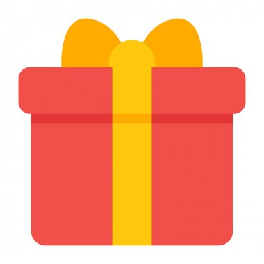 Surprise gift box, package vector in flat design icon