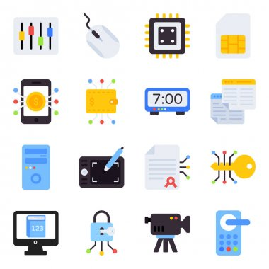 Pack of Technology Flat Icons icon