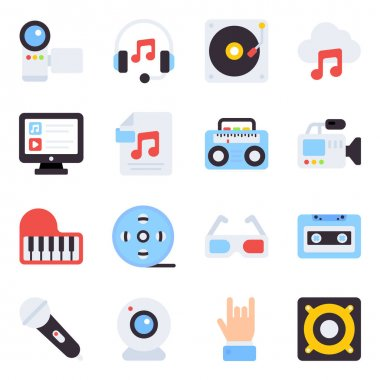 Pack of Multimedia Flat Icons icon