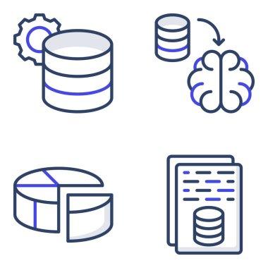 Pack of Database Flat Icons icon