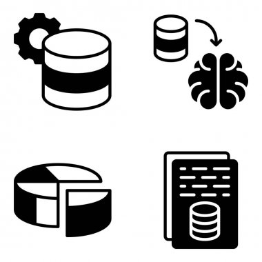 Pack of Database Glyph Icons icon