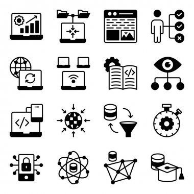 Pack of System Coding Glyph Icons icon