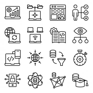 Pack of System Coding Linear Icons icon