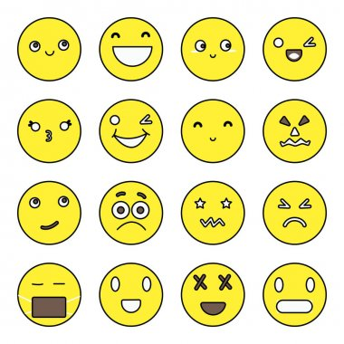 Pack of Emoji and Smiley Flat Icons icon