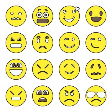 Pack of Emoji and Face Expression Flat Icons icon
