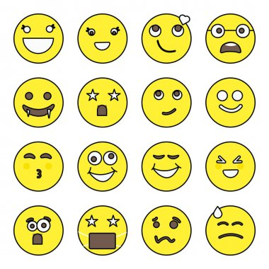 Pack of Emoticon and Face Expression Flat Icons icon