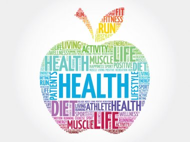 Colorful Health apple word cloud