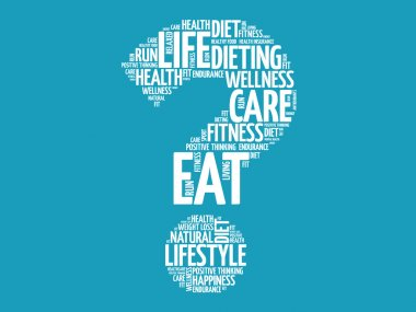 Question mark word cloud, fitness