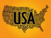 Mapa USA slovo mrak