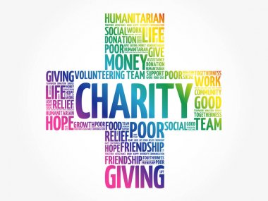 Charity word cloud collage, business concept background icon