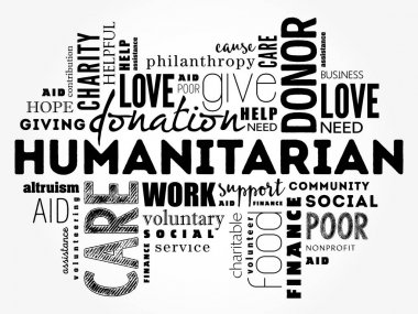 Humanitarian word cloud collage, social concept background icon