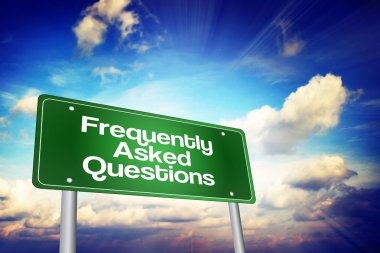 Frequently Asked Questions (FAQ) Green Road Sign, Business Conce