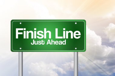 Finish Line, Just Ahead Green Road Sign, business concep