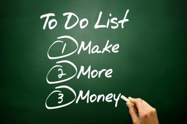 Hand drawn Make More Money in To Do List, business concept on bl