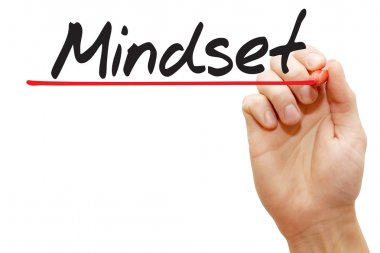 Hand writing Mindset, business concep