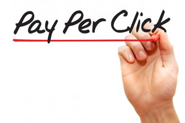 Hand writing Pay Per Click, business concep