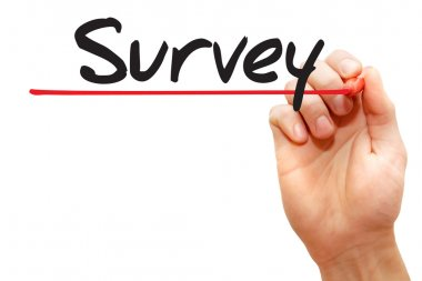 Hand writing Survey, business concep