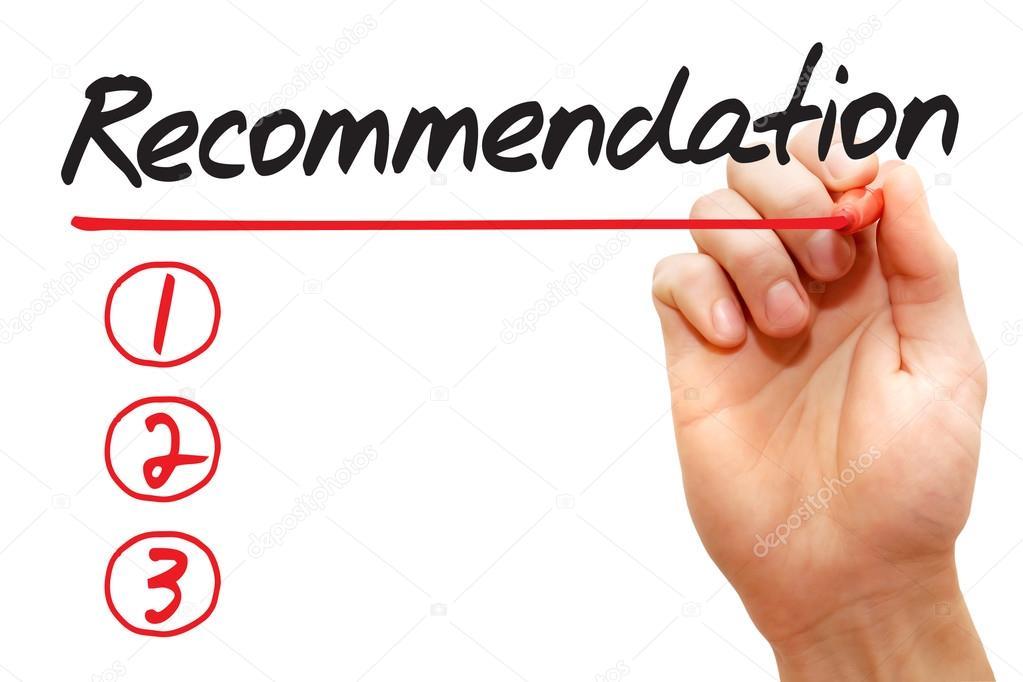 Hand-Geschäft Concep Empfehlung Liste schreiben — Stockfoto ...