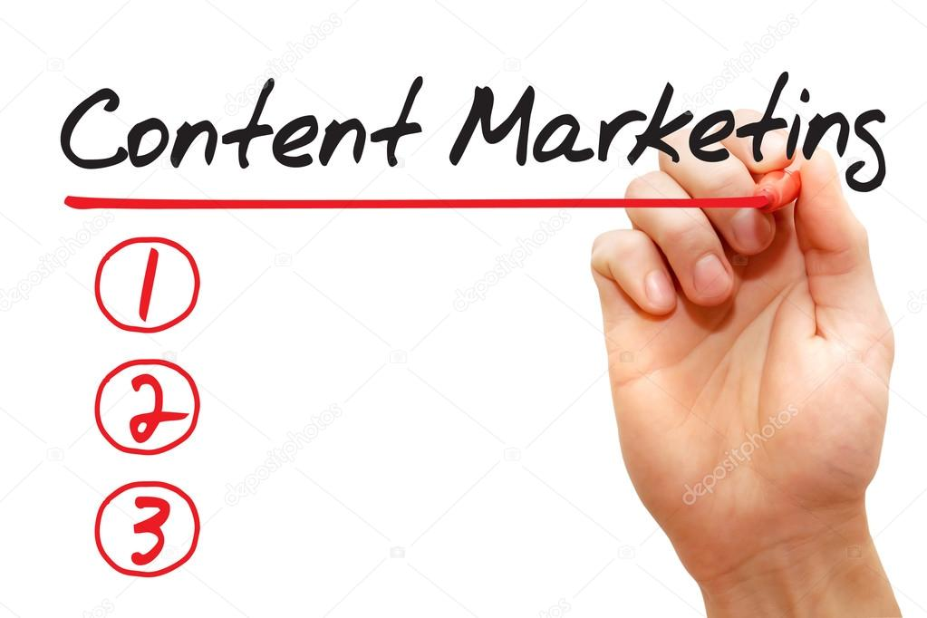 Hand writing Content Marketing List, business concep