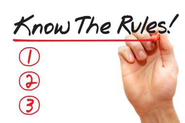 Hand writing Know The Rules List, business concept