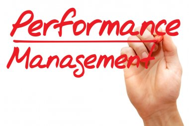 Hand writing Performance Management, business concept
