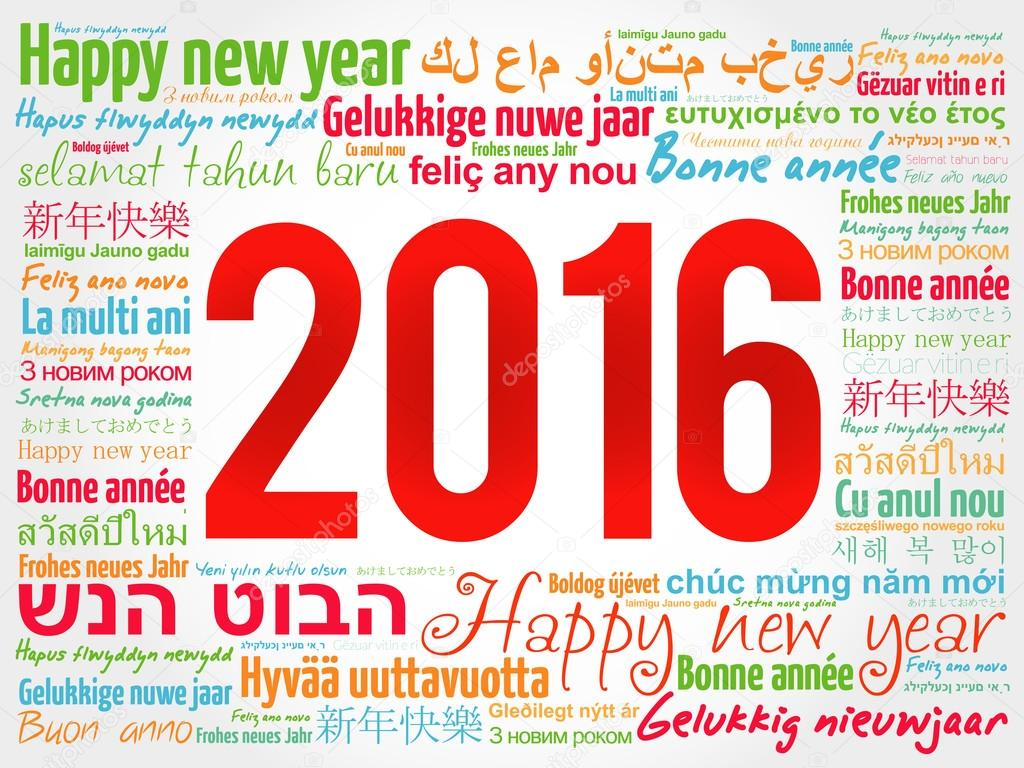 2016 happy new year in different languages greeting card stock 2016 happy new year in different languages celebration word cloud greeting card vector by dizanna kristyandbryce Image collections