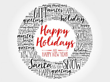 Happy Holidays and Happy new year circle word cloud, holidays lettering collage clip art vector