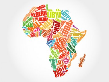 African countries Map in Typography