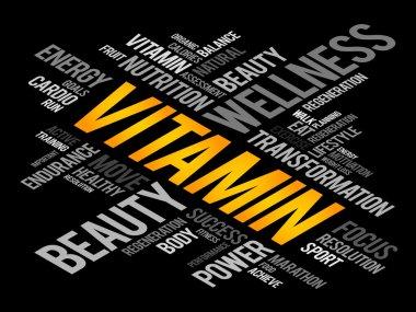 VITAMIN word cloud, fitness