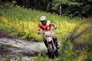 athlete racer rides in forest