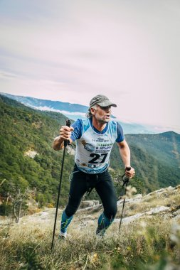 attractive middle-aged man climbs a mountain with nordic walking poles