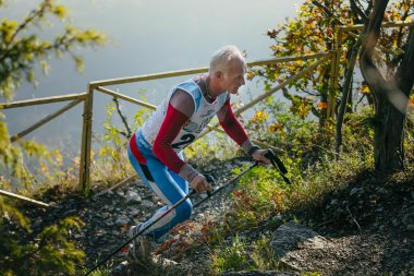 old man athlete running on mountain trail with nordic walking poles