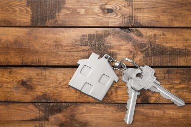 House keys   on wooden floor