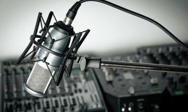 microphone and  digital studio mixer