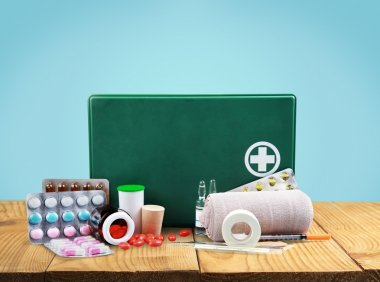 first aid kit  with medical supplies