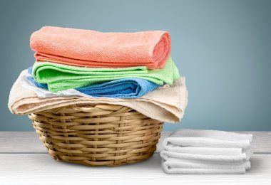 Laundry Basket with colorful towels