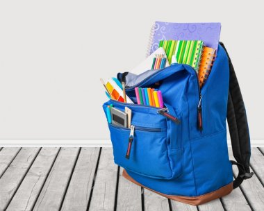 School Backpack  on   background.