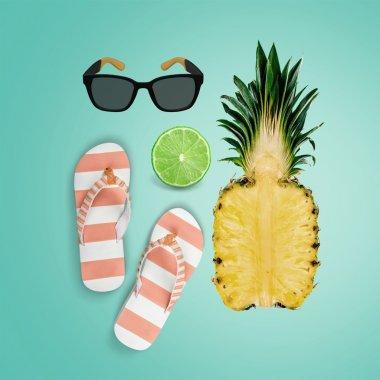 Fruits, flip-flops and sun eyeglasses