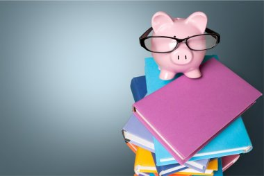 piggy bank in glasses
