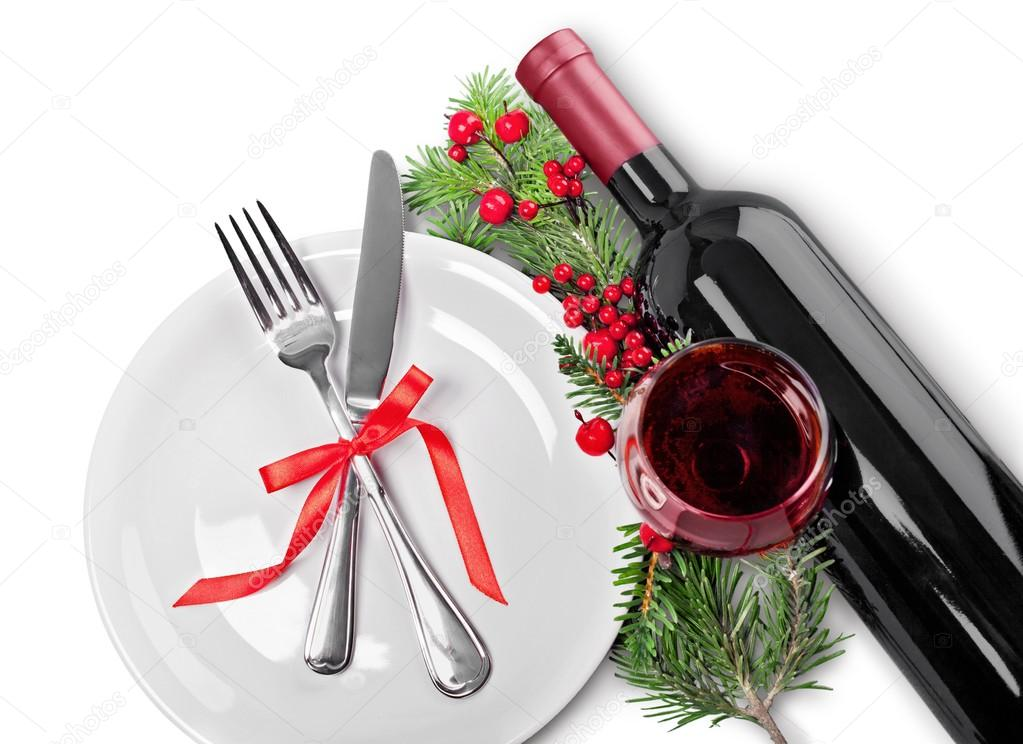 Holiday tableware with red wine