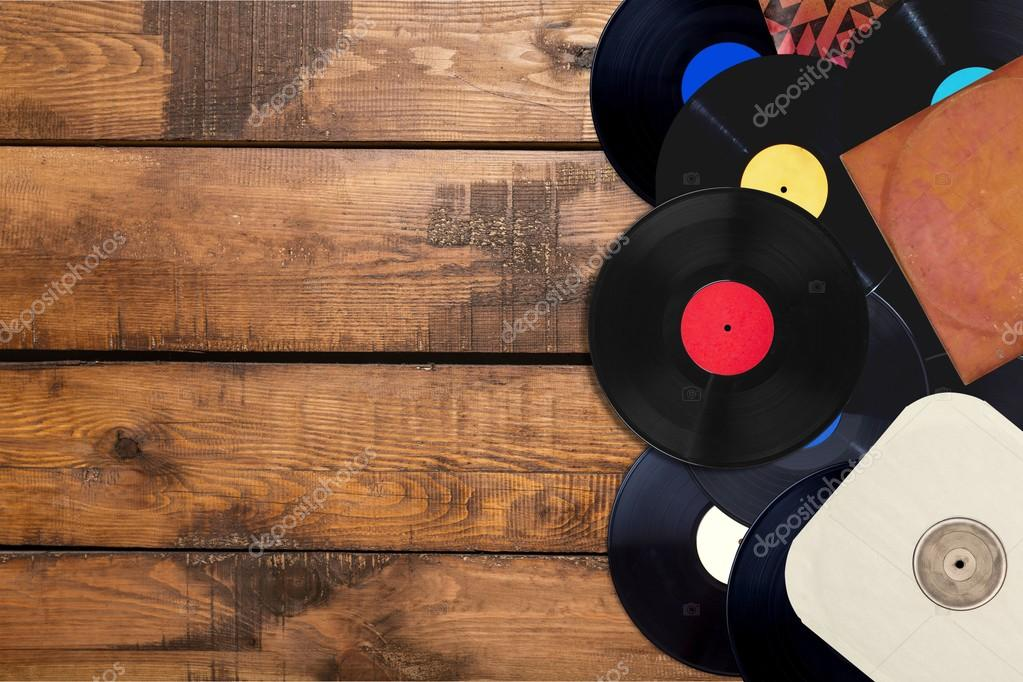 collection of old vinyl records