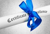 Fotografie Diplom s modrou stužkou