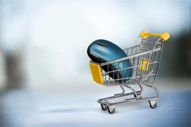 computer mouse placed in shopping cart.