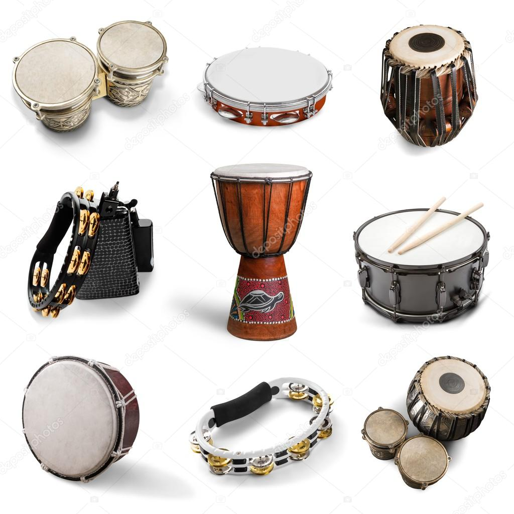 different kinds of percussion instruments stock photo