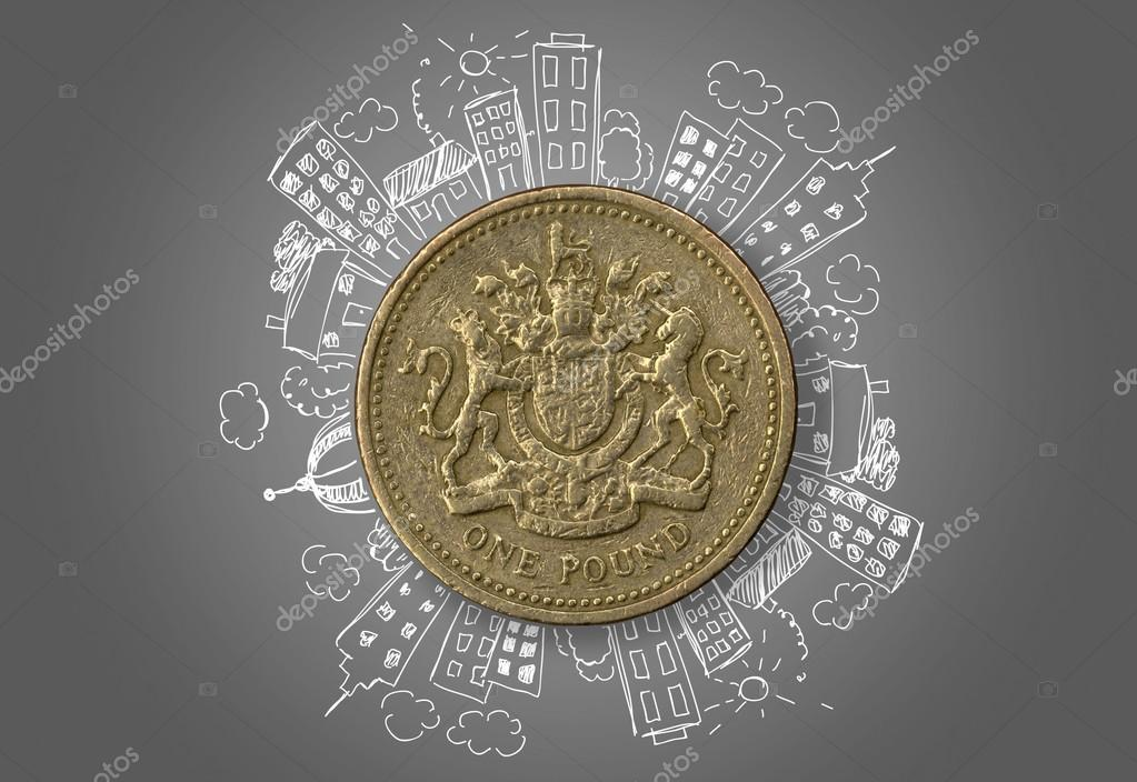 one pound with hand drawn buildings stock photo billiondigital