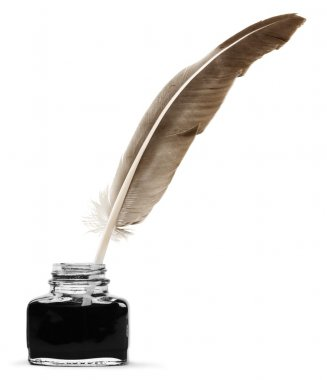 Feather quill pen and glass inkwell